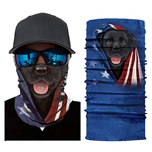 QHJ Herren Bandana Lustig 3D Hund Multifunktionstuch Schlauchtuch Face Shields Bedrucktes Halstuch Dünner Schlauch Atmungsaktiv Stirnband Motiv Halsschlauch