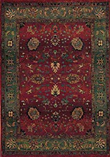"""Moretti Motions Area Rug 807C4 Red Persian Vines 2' 6"""" x 9' 1"""" Rectangle"""