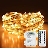 JAMIEWIN Xmas Decoration Fairy Lights Battery Operated 50LEDs Flexible Copper Firefly String Light for Christmas Bedroom