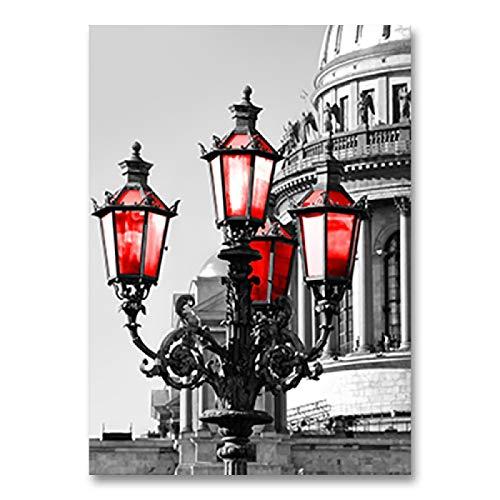 Leinwandbild, Motiv: schwarz-weißer Turm mit rotem Regenschirm, Wandkunst, Posterdruck, dekoratives Bild für das Wohnen, 60 x 80 cm, rahmenlos
