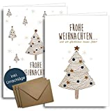 Weihnachtskarten mit Umschlägen aus Kraftpapier - 20 Stück   Nordischer Wald   Für Familie Freunde & geschäftlich   Weihnachtskarten-Set modern & schlicht Klappkarten mit Umschlag Set edel Blau