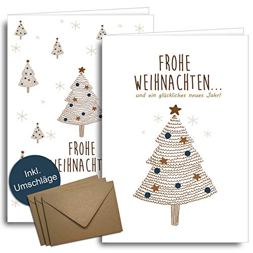 Weihnachtskarten mit Umschlägen aus Kraftpapier - 20 Stück | Nordischer Wald | Für Familie Freunde & geschäftlich | Weihnachtskarten-Set modern & schlicht Klappkarten mit Umschlag Set edel Blau