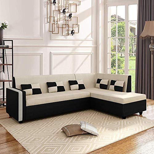 CasaStyle - Leximus Six Seater RHS L Shape Sofa Set (Cream-Black)