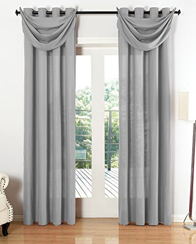 Gardinenbox Vorhang Set Blickdicht Schal Ösen Microsatin Segeltuch Querbehang lichtdurchlässig Deko Wohnzimmer HxB 225x140 cm Grau, 20405S4