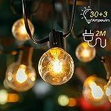 Kohree Guirlande Lumineuse Extérieure de 30 Ampoules G40 avec 3 Ampoules de Rechange Guirlande Guinguette Blanc Chaud 2700K de 10.8m pour Jardin Café Décoration Mariage
