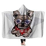 Manta con capucha para perro, diseño de bulldog francés, pañuelo de invierno y gafas, estrella y nieve, ideal para sofás, camas de viaje, 152 x 200 cm