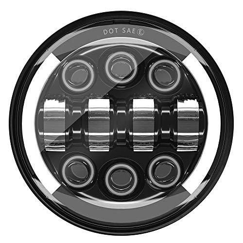 MONDEVIEW LED Moto Óptica Completo LED Cromado Faro Redondo 5 3/4 Cree LED Faros 55W 20000LM 6000K+4300K Luz de Carretera Cruce Lenticular 9-30V HI LO Haz DRL Scooter Harley Wrangler Cable H4-H13