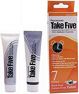 Dongsung Take Five Hair Dye Color #7 Soft Black Covers Gray Hair Just in 5 Minutes Pearl Extract, Ammonia Free, No Odor, UV Protection