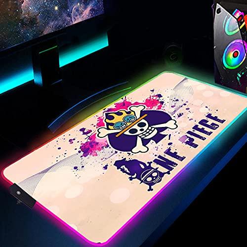 Tapis de Souris Gaming XXXL Anime One Piece Chopper Gaming Mouse Pad RGB Clavier Pad Lumineux LED 35.4x15.7IN 4 MM Épais Antidérapant Bureau Pad-400x900mm