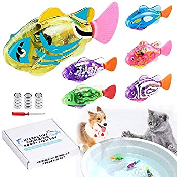 LAVIZO Interactive Robot Fish Toys for Cat/Dog 6 Pcs  Activated Swimming in Water with LED Light Swimming Bath Plastic Fish Toy Gift to Stimulate Your Pet s Hunter Instincts
