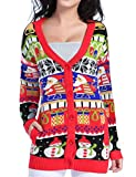 v28 Christmas Sweater Cardigan, Women Girls Ugly Fun Long Knit colorful Sweaters, Funcardigan. XXX-Large