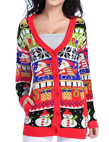 v28 Ugly Christmas Sweater for Women Reindeer Funny Merry Knit Sweaters Cardigan (Large, ModelA)