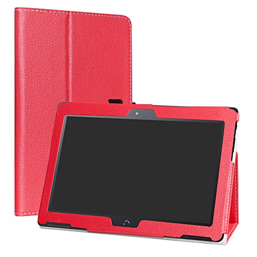 LiuShan BQ Aquaris M10 Funda, Folio Soporte PU Cuero con Funda Caso para 10.1' BQ Aquaris M10 Android Tablet,Rojo