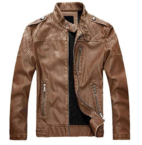 Man&Jenensy Hombres PU Chaquetas de Cuero Motocicleta Hombre Abrigo de algodón otoño Invierno vellece Chaqueta de Cuero