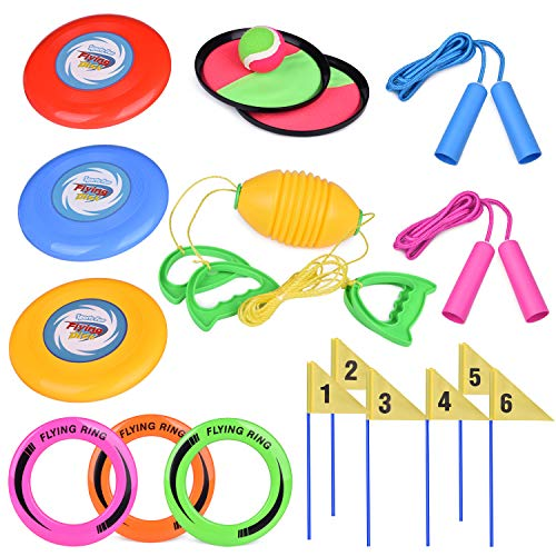 FUN LITTLE TOYS 5 Outdoor Games Set Kids Outdoor Toys with 6 Flying Discs, Zip Ball, Toss and Catch Game, Ring Toss Game and 2 Jump Ropes