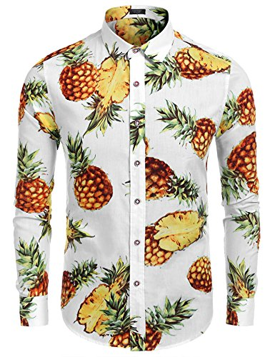 Herren Hemd Langarm Hawaii Hemd Sommer Freizeit Regular fit Hawaiian Shirt