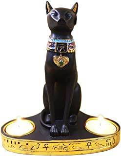 Ancient Egypt Egyptian Bastet Cat Goddess Statue Collectible Figurine Bastet Cat Sculpture with 2 Tea Light Candle Holder (Cat Statue with Candle Holder)