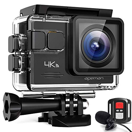 APEMAN A79 PRO Action Cam 4 K 20 MP WiFi Wasserdicht 40 m mit Fernbedienung und Mikrofon für Externe Unterwasserkamera Digitalkamera Anti-Shaking Webcam, Time Lapse Slow Motion Kamera