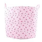 Minene - Cesto portaoggetti grande, motivo floreale, colore: Rosa