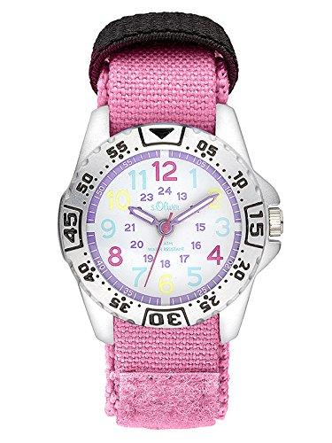 S. Oliver Mädchen Analog Quarz Uhr mit Nylon Armband SO-3505-LQ