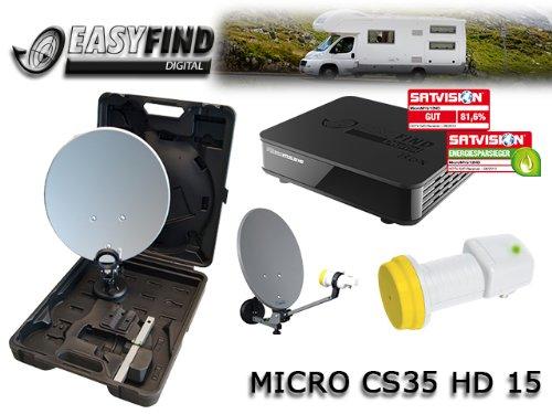 Micro CS 35 HD 15 Easyfind digitale Camping Satellitenanlage (Easyfind, Full HD, HDMI, USB, 230/12V) schwarz