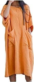 RkYAO Womens Linen with Pocket Solid Scoop Neck Plain Mid Length Dress