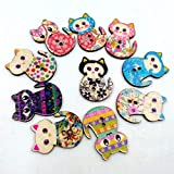 Fliyeong 50 Teile/Paket DIY Cartoon Katze Druck Farbe Holzknöpfe Holzknöpfe Handgemachte Dekorative Katze Cartoon Katze Stilvoll