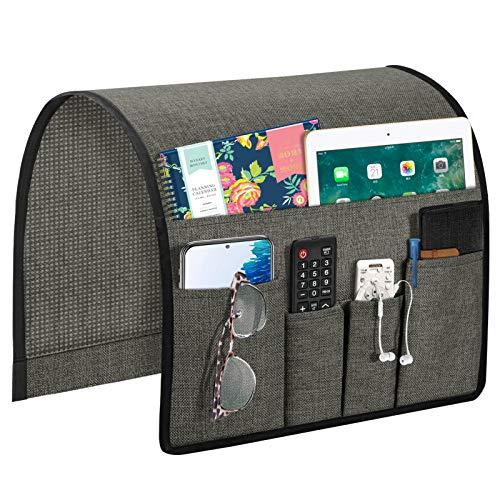Joywell Organizador de reposabrazos de sofá, soporte para mando a distancia para sofá reclinable, con 5 bolsillos para revista, tableta, teléfono, iPad, gris