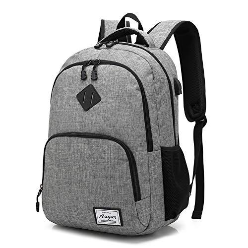 Vintage Canvas Tasche,AUGUR School Unisex Rucksack Vintage Lässig Reise Laptop Rucksack Oxford Tuch mit USB Ladeanschluss Daypack Tablet Taschen (Grau) Men-grey-Onesize
