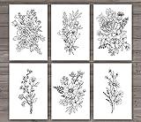 SL Design Wandbild, Blumen-Motiv, ungerahmt, 6 Stück,
