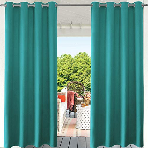 PRAVIVE Patio Curtains & Drapes Blackout- Grommet Waterpfoof Outdoor Pergola Shades Porch Blinds Turquoise Privacy Curtain Panels for Canopy/Balcony, Teal, W52 by L84 Inches,1 Pc