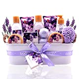 Bath Spa Gift Basket, Body & Earth Bath Gift Set 12 Pcs Lavender Scented, Includes Shower Gel, Bubble Bath, Bath Salt, Bath Bomb, Body Lotion and More, Bath and Body Gift Idea for Birthday Christmas