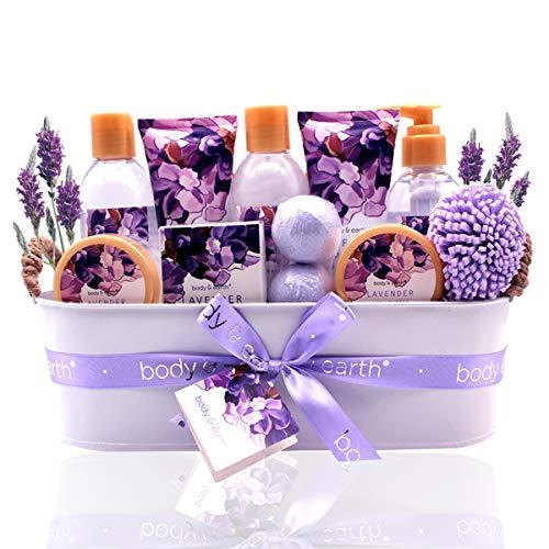 Geschenkset für Frauen - Body&Earth Spa-Kit für Frauen 12 Pcs Badesets mit Lavendel Duft, Enthält Duschgel, Schaumbad, Body Lotion, Handseife, Körperbutter, Badesalz, Badebombe und Mehr