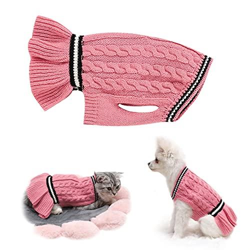 Hundepullover, Haustier Hunde Pullover Kleine Strickwaren Puppy Kleider Winter Warmer Hund Katzenpullover Kleidung Haustiermantel Kostüm Welpenpullover für Welpen Small Medium Dog