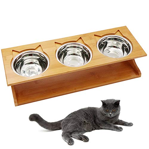 Petsoigné Cat Bowls Pet Dining Table with Raised Slope...