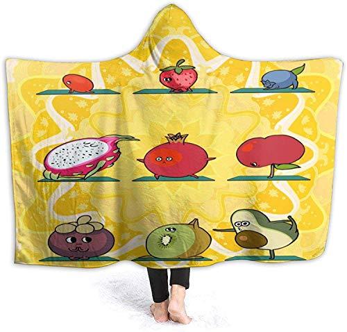 Los niños Duermen insomnio Frutas Manta de Yoga Suave y cálida Manta con Capucha para niños Adultos Regalo Sofá Silla Cama Oficina 50 'x40 para niños