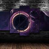 Lienzo con espacio de agujeros negro, 5 piezas, lienzo para...