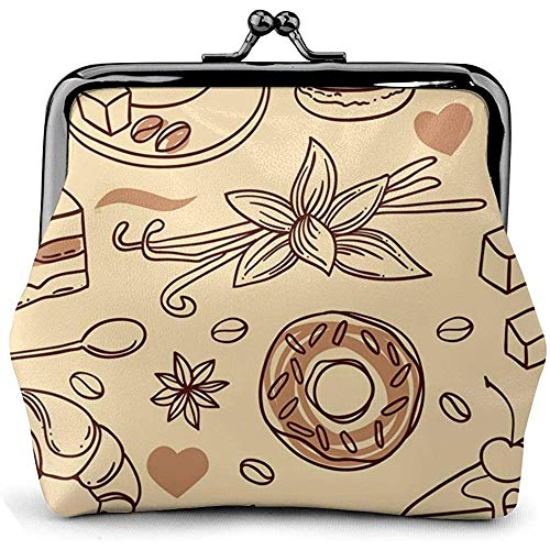 Schöne Kaffee Vektor Bild Leder Classic Blumenmünze Geldbörse Clutch Pouch Brieftasche