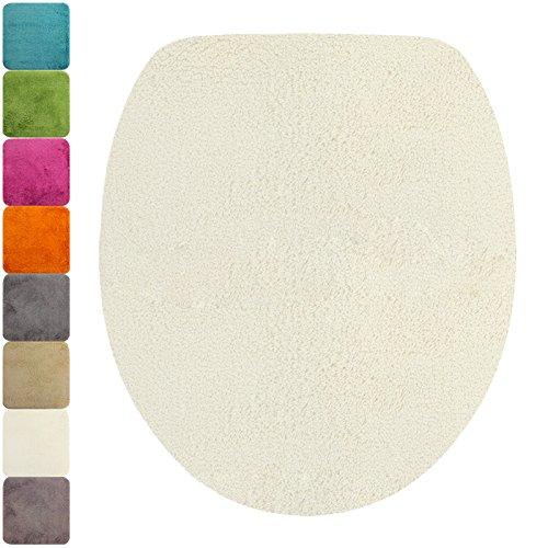 DILUMA WC-Deckel-Bezug Flauschiger Toilettendeckelbezug Klodeckelbezug mit Gummizug Premium Badteppich oval 1200 g/m² weich & kuschelig Hochflor, Farbe:Weiß