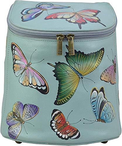 Anuschka Rucksack aus Echtleder für Damen - Handbemaltes Material - Schmetterlingshimmel