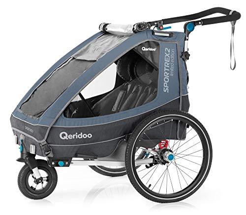 Qeridoo Sportrex2 Limited Edition Kinderanhänger mit Federung für zwei Kinder E-Bike geeignet