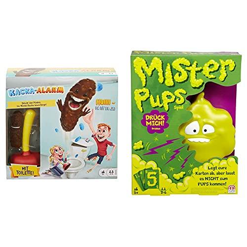 Mattel Games Kacka Alarm deutschsprachig, lustiges Kinderspiel und Partyspiel für 2 - 4 Spieler & Mister Pups lustiges Kartenspiel und Kinderspiel geeignet für 2 - 6 Spieler, Kinderspiele ab 5 Jahren