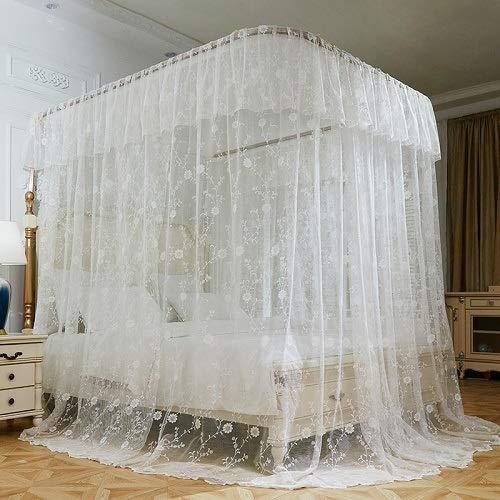 Blanco Marco U Tipo de guía del Estilo del Palacio de Tren de Tres Open Door Mosquitera Acero Inoxidable Mosquito Bed Valance lecho (Color : 1, Size : 200X220cm)