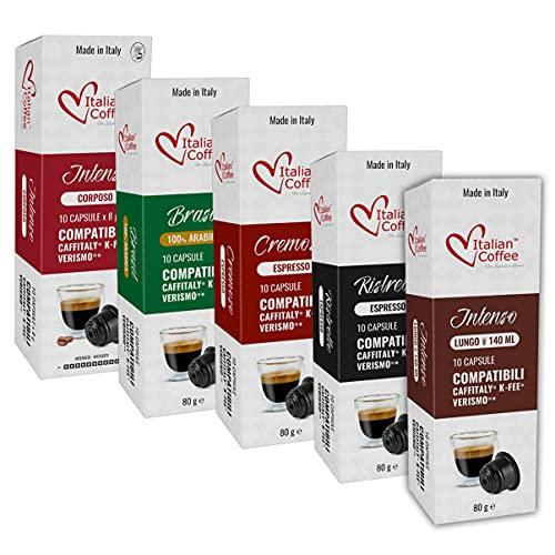 Caffitaly -80 Capsulas de Cafe Compatibles - 5 Variedades Degustación - Cafeteras Caffitaly System
