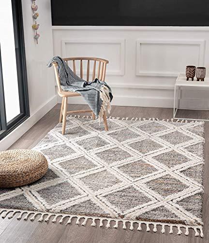 the carpet Vera Handmade-Look, 3D Effekt, Rauten-Muster Breit, Hochflor 30 mm, Super Weicher Wohnzimmer Teppich, 120x170 cm