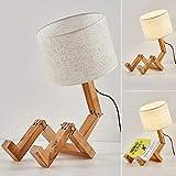 DAXGD Lámparas de Mesa de Madera Lámpara de Escritorio con Forma de Robot Creativo, E27 Luz de Lectura LED Plegable Ajustable Flexible para Dormitorio, Altura: 44 cm