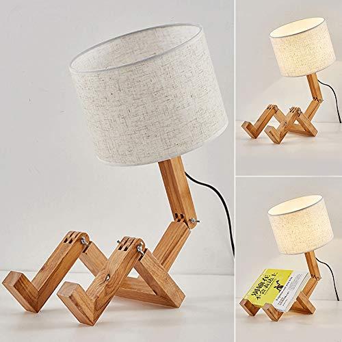 DAXGD Lampade da tavolo in legno Lampada da scrivania a forma di robot creativo, E27 luce di lettura pieghevole regolabile flessibile a LED per camera da letto, Altezza: 44 cm