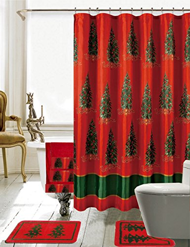 Merry Christmas Tree on Red Shower Curtain, Bathroom Rug and Towel 18 Pieces Set