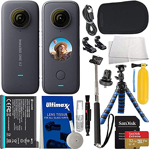 """Insta360 ONE X2 with Action Bundle: Bundle Includes – SanDisk 32GB Extreme MicroSDHC Card, Selfie Stick/Monopod, Floating Hand Grip, 12"""" Gripster Tripod, Insta360 Carrying Case, and Much More"""
