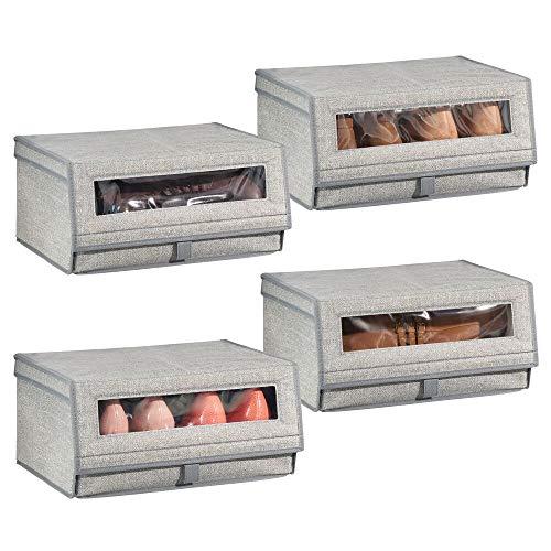 mDesign Juego de 4 cajas para zapatos de fibra sintética (grande) – Cajas apilables con ventana, cierre adhesivo y tapa abatible – Prácticas cajas organizadoras para armarios y estanterías – gris